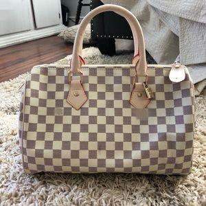 Speedy lv bag white gray check
